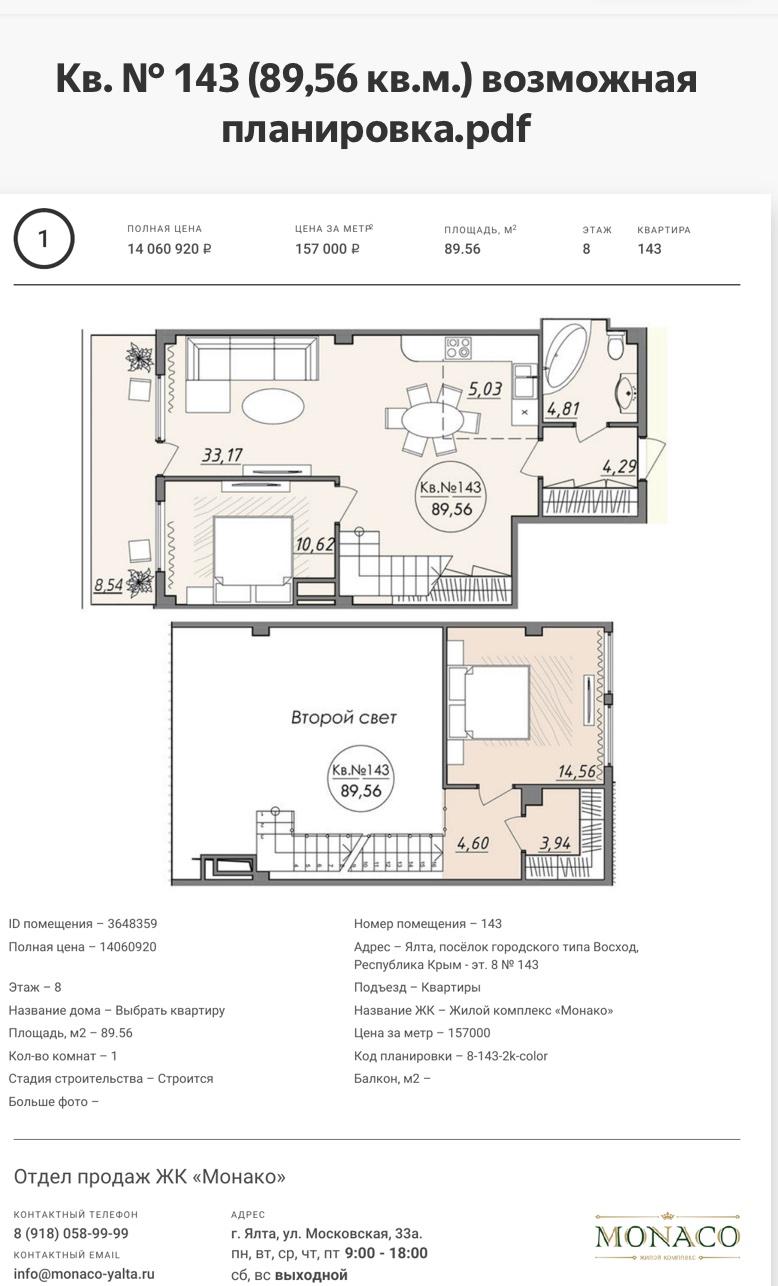 Квартира №143 в ЖК Монако 2