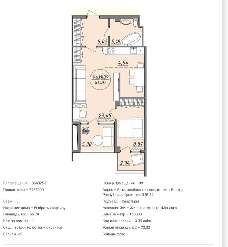 Квартира №39 в ЖК Монако 2