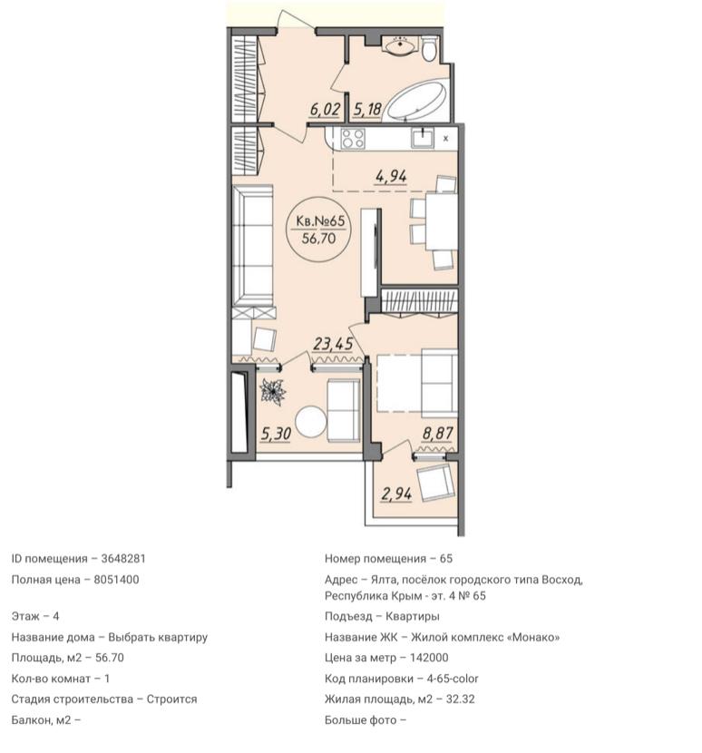 Квартира №65 в ЖК Монако 2